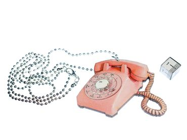 Telefon Kette Halskette Miniblings 80cm Scheibentelefon Holz Retro Vintage rosa – Bild 2