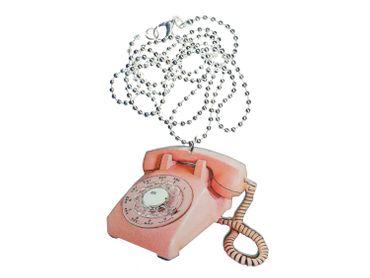 Telefon Kette Halskette Miniblings 80cm Scheibentelefon Holz Retro Vintage rosa – Bild 4
