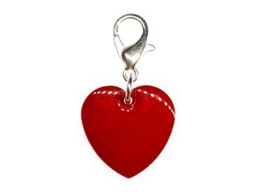 Herz Charm Bettelanhänger Miniblings Anhänger Herzchen Emaille 16mm Liebe rot – Bild 1