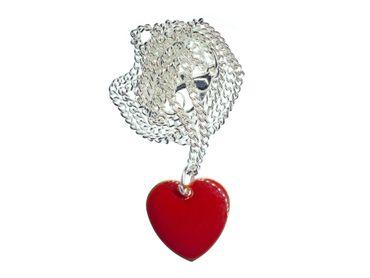 Herz Kette Halskette Miniblings Herzkette Valentinstag Liebe Emailliert rot 45cm – Bild 1