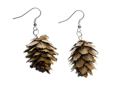 Real Pine Cones Earrings Miniblings Pine Cone Nature Natural 45mm Woods Brown – Bild 1