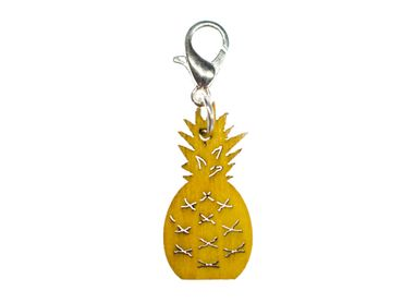 Pineapple Charm Pendant Miniblings Fruit Golden Wooden Fruits Summer Food Wood – Bild 1