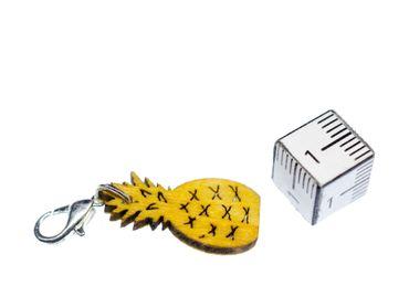 Pineapple Charm Pendant Miniblings Fruit Golden Wooden Fruits Summer Food Wood – Bild 2
