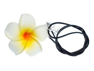 Frangipani Necklace Miniblings Leather Flower 50mm White Flowers 45 cm – Bild 1