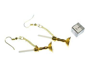 Kerzenleuchter Ohrringe Miniblings Kerzenständer Kerzenhalter eine Kerze golden – Bild 2