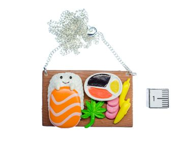 Sushi Plate Necklace Miniblings Japanese Specialty Japan Cawaii Fish Face Brown – Bild 2
