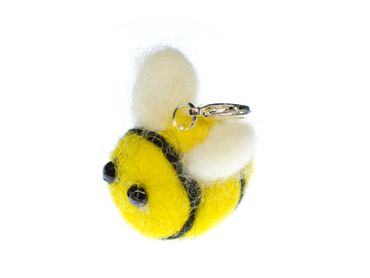 Bee Charm For Bracelet Wristlet Dangle Miniblings Felt Yellow Animal Honey Bee – Bild 1