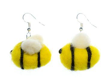 Bee Earrings Miniblings Felt 31mm Yellow Fluffy Bees Animals Animal Honey – Bild 1