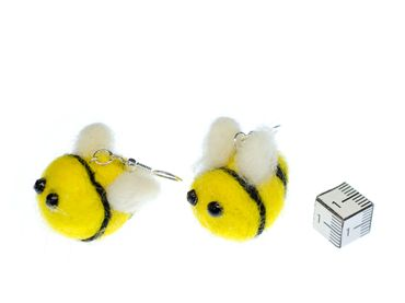 Bee Earrings Miniblings Felt 31mm Yellow Fluffy Bees Animals Animal Honey – Bild 2