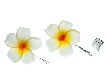 Frangipani Set Of 2 Hair Clips Miniblings Hair Pin Clips Lily Flower Plumeria Surfer Hawai – Bild 2