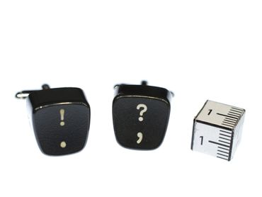 ? ! Cuff Links Cufflinks Black Typewriter Keys Miniblings Resin Question Exclamation Mark Question – Bild 3