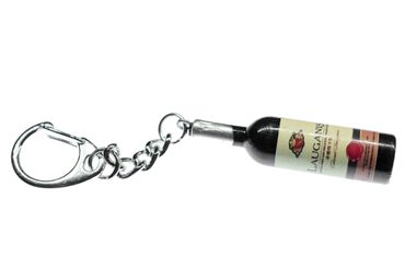Wine Bottle Keychain Miniblings Key Necklace48mm Key Pendant Keyring Dark Brown – Bild 1