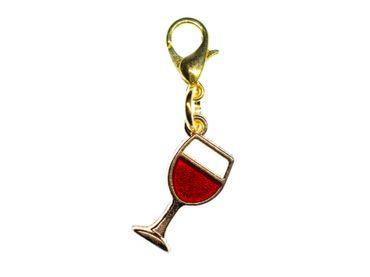 Weinglas Charm Miniblings Anhänger Bettelanhänger Rotwein Wein golden 16mm – Bild 1