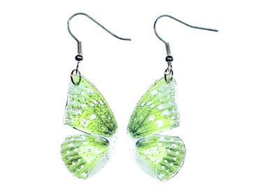 Butterfly Wings Earrings Miniblings Glittering Twinkling Fly 34mm Wing green – Bild 1