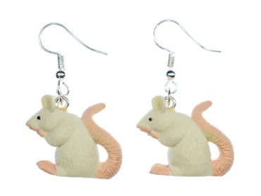 Rat Earrings Miniblings Mice Mouse Rats Rubber White 18mm Rodent – Bild 1