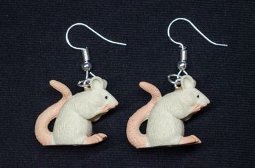 Rat Earrings Miniblings Mice Mouse Rats Rubber White 18mm Rodent – Bild 3