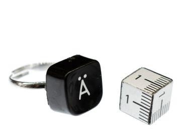 Buchstaben Ring Ä Vintage Schreibmaschinentaste Miniblings Unikat eckig Umlaut Ä – Bild 4