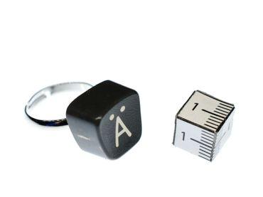 Buchstaben Ring Ä Vintage Schreibmaschinentaste Miniblings Unikat eckig Umlaut Ä – Bild 2