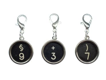 Number Typewriter Keys Charm Miniblings Your Number Customized Numbers 123 Black – Bild 1
