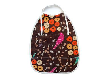 Baby Child Children Bibs Miniblings Handmade Bib Burp Cloth Bird Brown Flower – Bild 1