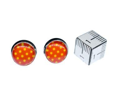 Polka Dots Cabochon Stecker Rockabilly Miniblings Ohrstecker rot weiß Punkte – Bild 2