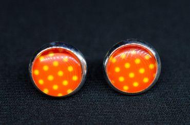 Polka Dots Cabochon Stecker Rockabilly Miniblings Ohrstecker rot weiß Punkte – Bild 3