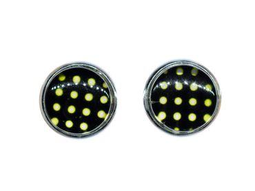 Polka Dots Cabochon Stecker Rockabilly Miniblings Ohrstecker schwarz weiß Punkte – Bild 1