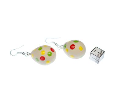 Easter Egg Earrings Miniblings Eggs Polymer Clay Handmade Points Dots Food – Bild 2
