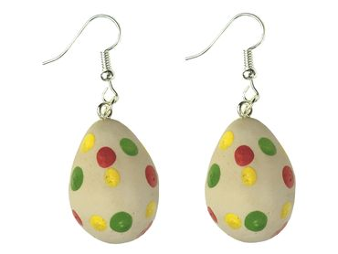 Easter Egg Earrings Miniblings Eggs Polymer Clay Handmade Points Dots Food – Bild 1