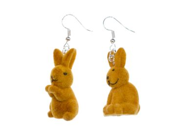 Rabbit Bunny Earrings Miniblings Easter Velvety Brown Random Animal Pet – Bild 1