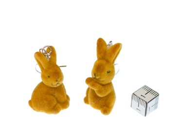 Rabbit Bunny Earrings Miniblings Easter Velvety Brown Random Animal Pet – Bild 3