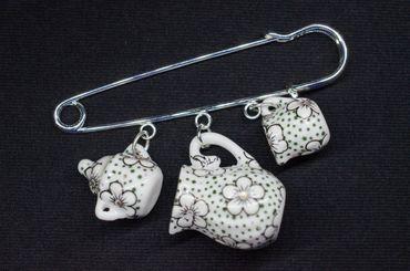 Teatime Brooch Pin Miniblings Button Teapot Cup Sugar Milk Pot Of Tea Porcelain Ceramic Dots – Bild 1