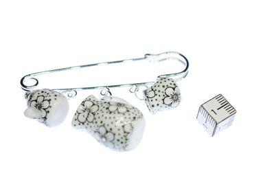 Teatime Brooch Pin Miniblings Button Teapot Cup Sugar Milk Pot Of Tea Porcelain Ceramic Dots – Bild 3