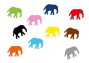 10X Elephant Patch Hotfix Iron On Motif Miniblings 34mm Glossy Elephants Africa India – Bild 1