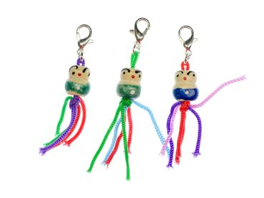 Set Of 3 Good Luck Puppet Charms Miniblings Pendant Charm Dolly Doll Wood – Bild 1