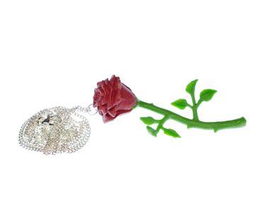 Red Rose Necklace Miniblings Flower 70mm Flowers 80cm Hard Rubber Love – Bild 1