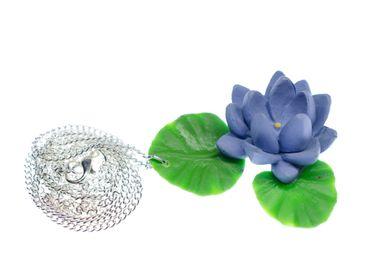 Seerose Halskette Miniblings Blume Blumenkette Blumen 80cm Kette blau – Bild 1