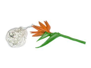 Paradiesvogelblume Halskette Miniblings Blume Blumenkette Blumen 80cm Kette – Bild 1