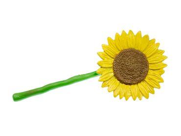Sonnenblume Brosche Miniblings gelb Blume Blumen Anstecknadel Frühling gelb Gummi – Bild 1