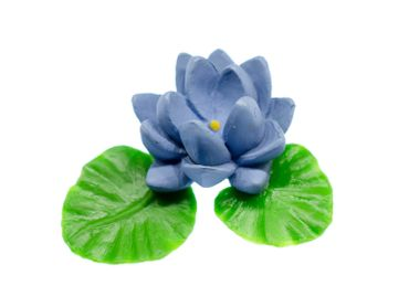 Blue Water Lily Brooch Miniblings Broach Pin Flower Spring Hard Rubber 50mm – Bild 1