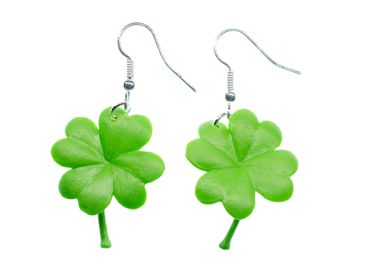 Cloverleaf Earrings Miniblings Rubber Green 31mm Leafs Clover Leaf Shamrock – Bild 1
