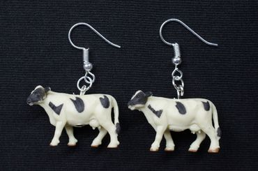 Cow  Earrings Miniblings Cows Animals  Farm Rubber 30mm Animal Kine – Bild 3