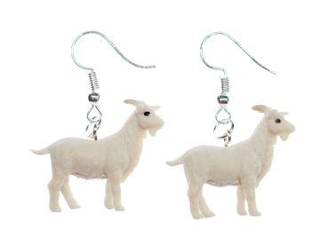 Goat Earrings Miniblings Animals Goats Farm Rubber 30mm Animal White Yeanling – Bild 1