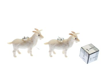 Goat Earrings Miniblings Animals Goats Farm Rubber 30mm Animal White Yeanling – Bild 2