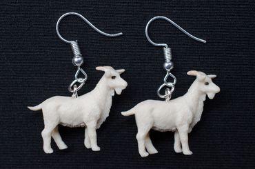 Goat Earrings Miniblings Animals Goats Farm Rubber 30mm Animal White Yeanling – Bild 3