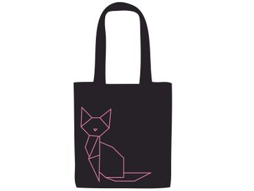 Cotton Carrier Bag Cat Jute Bag Shopper Miniblings Cats Geometric Origami Black Pink