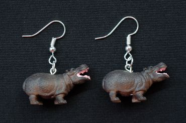 Hippo Earrings Earring Miniblings Animal Africa  Rubber 30mm Safari Hippopotamus – Bild 3