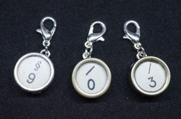Number Typewriter Keys Charm Miniblings Your Number Customized Numbers 123 White – Bild 1