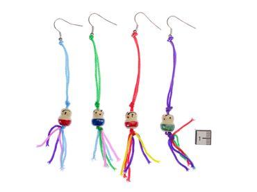 Lucky Puppet Earrings Miniblings Wooden Doll 10mm colorful mojo – Bild 2