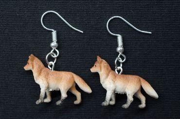 Fuchs Ohrringe Füchse  Miniblings Fuchsohrringe braun 30mm Gummi Tiere Wald – Bild 3